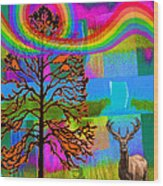 The Earth Rejoices Series Deer And Basswood Wood Print