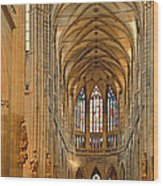 The Enormous Interior Of St. Vitus Cathedral Prague Wood Print by Christine Till