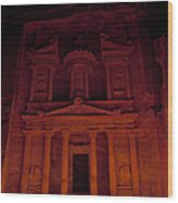 The Famous Treasury Lit Up At Night Wood Print