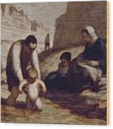 The First Bath  Wood Print by Honore Daumier