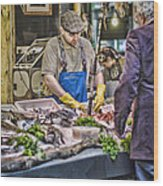 The Fish Monger Wood Print