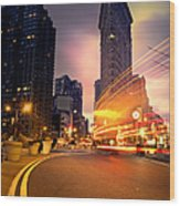 The Flat Iron Building With Some Magic Happening Wood Print