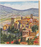 The Fortified Walled Village Of Gualdo Cattaneo Umbria Italy Wood Print