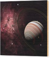 The Gas Giant Carter Orbited By Its Two Wood Print
