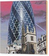 The Gherkin London Wood Print by Jasna Buncic