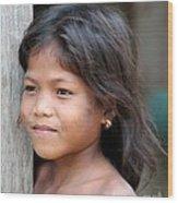 The Girl In The Plastic Earrings  Wood Print