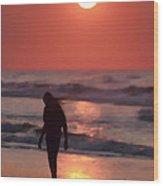 The Girl On The Beach Wood Print