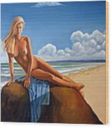 The Girl On The Rock Wood Print