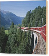 The Glacier Express Crosses A Bridge Wood Print by Taylor S. Kennedy
