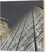The Glass Pyramid And The Louvre At Dusk Wood Print