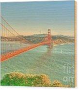 The Golden Gate Bridge  Fall Season Wood Print by Alberta Brown Buller