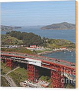 The Golden Gate Bridge North Side Overlooking Angel Island And Tiburon And Horseshoe Bay . 7d14494 Wood Print