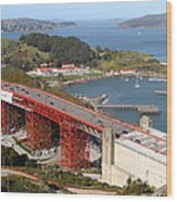 The Golden Gate Bridge North Side Overlooking Angel Island And Tiburon And Horseshoe Bay . 7d14540 Wood Print by Wingsdomain Art and Photography