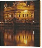 The Golden Temple Is Reflected Wood Print