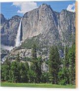 The Grandeur Of Yosemite Falls Wood Print