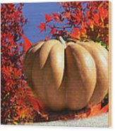 The Great Pumpkin And October Colors Wood Print