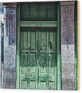 The Green Door In The French Quarter Wood Print