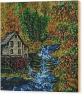 The Grist Mill in Autumn Wood Print
