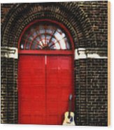 The Guitar And The Red Door Wood Print