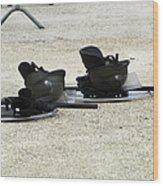 The Helmet, Shield And Baton Used Wood Print