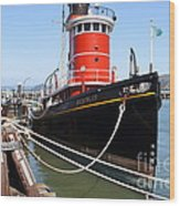 The Hercules . A 1907 Steam Tug Boat At The Hyde Street Pier In San Francisco California . 7d14137 Wood Print by Wingsdomain Art and Photography