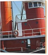 The Hercules . A 1907 Steam Tug Boat At The Hyde Street Pier In San Francisco California . 7d14143 Wood Print by Wingsdomain Art and Photography