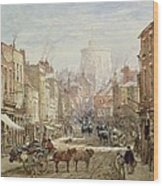 The Household Cavalry In Peascod Street Windsor Wood Print by Louise J Rayner