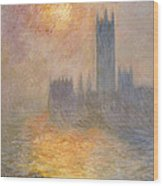 The Houses Of Parliament At Sunset Wood Print by Claude Monet