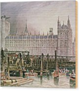 The Houses Of Parliament In Course Of Erection Wood Print