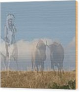 The Hunter Of Buffalo Wood Print
