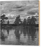 The Island In The Midlle In Bw Wood Print