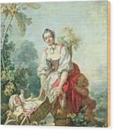 The Joys Of Motherhood Wood Print by Jean-Honore Fragonard