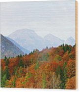 The Julian Alps In Autumn At Lake Bohinj Wood Print