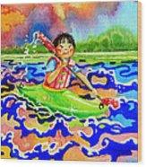 The Kayak Racer 12 Wood Print by Hanne Lore Koehler