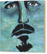 Blue Man In The Sky Surreal Portrait Unique Contemporary Figurative Fine Art Surrealism Decor Print Wood Print