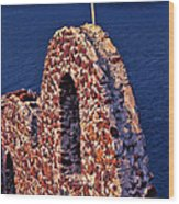 The Last Wall Standing Santorini Greece Wood Print