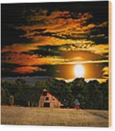 The Late Sam's Rd. Barn In The Moonlight Wood Print