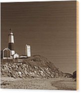 The Light At Montauk Point Wood Print