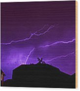 The Lightning Over Avery Neighborhood Wood Print by Lisa  Spencer