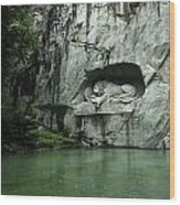 The Lion Monument In Lucerne Honouring The Swiss Soldiers Killed During French Revolution Wood Print