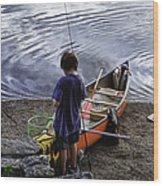 The Little Fisherman Wood Print