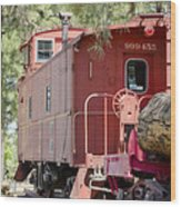 The Little Red Caboose Wood Print