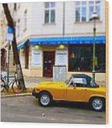 The Little Yellow Car Wood Print