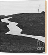 The Long And Winding Road Bw Wood Print
