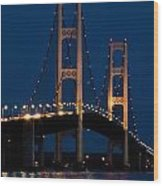 The Mackinaw Bridge At Night By The Straits Of Mackinac Wood Print