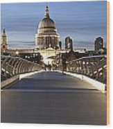 The Millennium Bridge Looking North Wood Print