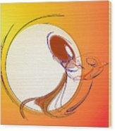 The Monkey On The Moon Wood Print
