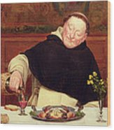 The Monk's Repast Wood Print