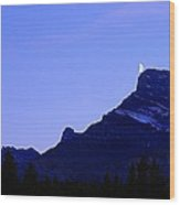The Moon And Mount Rundle Wood Print