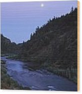 The Moon Appears Over The Rogue River Wood Print